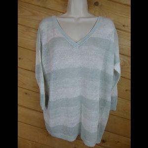 The Field 100% Linen  3/4 Sleeve Sweater Open Knit